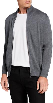 Neiman Marcus Men's Zip-Front Merino Wool Sweater