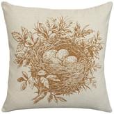 123 Creations Bird's Nest Printed Linen Pillow With Feather-Down Insert, Caramel