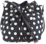 Rochas Polka-Dot Woven Bucket Bag