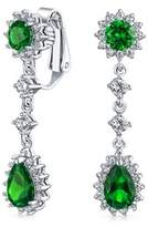 Bling Jewelry Simulated Emerald Cz Bridal Teardrop Chandelier Clip On Earrings Rhodium Plated Brass.