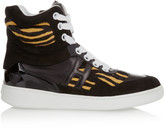 Hogan Katie Grand Loves Suede, leather and tiger-print calf hair sneakers