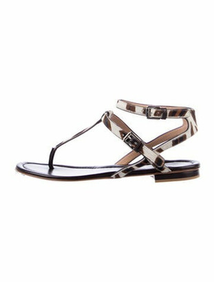 Gianvito Rossi Ponyhair T-Strap Sandals Brown