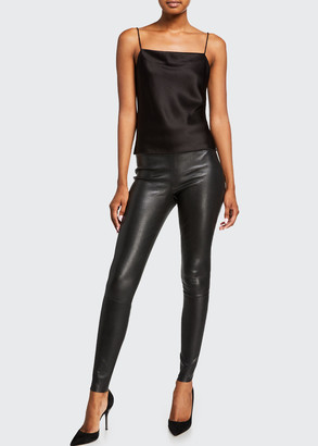 Alice + Olivia Maddox Leather High-Waist Side Zip Leggings