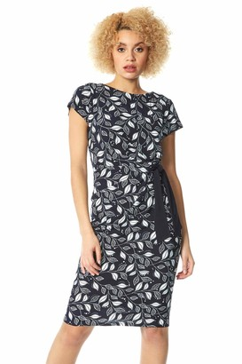 Roman Originals Womens Leaf Print Side Tie Dress - Ladies Everyday Smart Casual Work Office Meeting Wedding Guest Comfortable Round Neck Knee Length Midi Jersey Dresses - Navy - Size 12