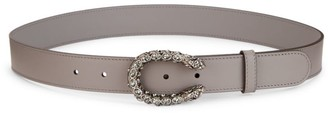 Gucci Tiger Head Crystal & Leather Belt