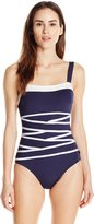 Nautica Women's Signature Removable Soft One Piece Swimsuit with Strapping Detail