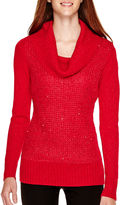 BY AND BY by&by Long-Sleeve Sequin Cowlneck Sweater