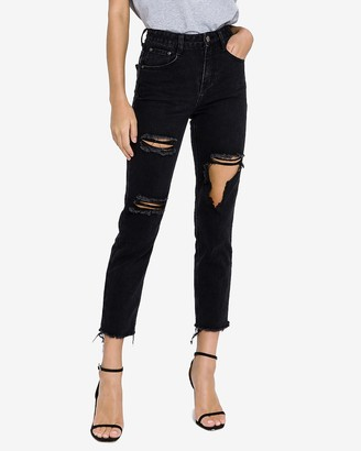 Express English Factory High Waisted Distressed Mom Jeans