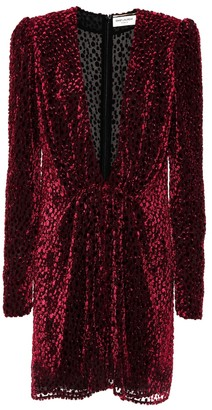 Saint Laurent Flocked velvet silk-blend dress