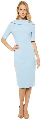 Adrianna Papell Roll Neck Sheath with V Back Dress (Blue Mist) Women's Dress