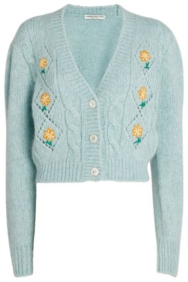 Alessandra Rich Alpaca-Mohair Embroidered Cardigan