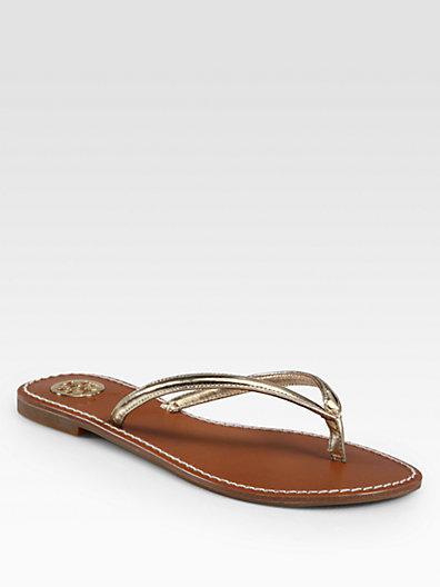 Tory Burch Abitha Metallic Leather Thong Sandals