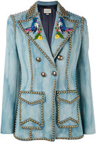 Gucci Embroidered studded denim blazer - women - Silk/Cotton/Viscose/Brass - 40