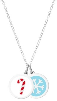 Auburn Jewelry Candy Cane & Mini Snowflake Necklace in Sterling Silver