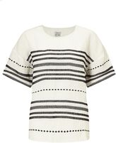 Jigsaw Stitch Detail Linen T-shirt