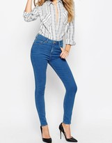 Asos RIDLEY Skinny Ankle Grazer Jeans In Sabrina Rich Blue Wash