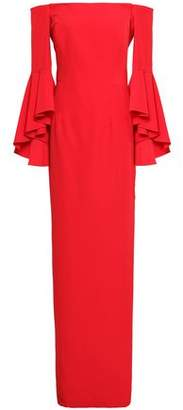 Milly Off-the-shoulder Fluted Cady Gown