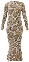 Norma Kamali Snake-print Fluted Jersey Midi Dress - Womens - Grey Print