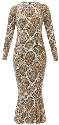 Norma Kamali Snake-print Fluted Jersey Midi Dress - Grey Print