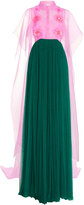 DELPOZO Embroidered Silk Tulle Long Dress with Feather Embellishment