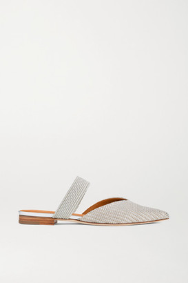 Malone Souliers Maisie Cord-trimmed Lurex Point-toe Flats - Silver