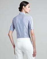 Escada Short Sleeve Ruffle-Front Blouse