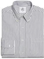 Brooks Brothers White and Navy Stripe Button-Down Shirt