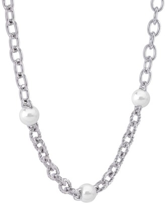 Majorica Modern Metal 8MM White Round Man-Made Pearl Chain-Link Necklace