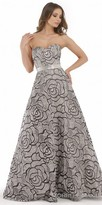 Morrell Maxie Strapless Sweetheart Rosette Print A-line Evening Gown