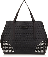 Jimmy Choo PIMLICO ROCK Embossed Stars on Black Grainy Leather with Multi Metal Studs Mix Tote Bag