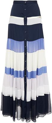 Altuzarra Gathered Color-block Satin, Satin-crepe And Silk-chiffon Maxi Skirt