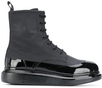 Alexander McQueen Varnish Detail Combat Boots