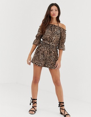 Influence leopard print shorts beach two-piece