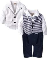 ZOEREA 2pcs Baby Boys Gentlemen Romper + Coat Wedding Suits Tuxedo Baptism
