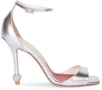 Roger Vivier I Love Vivier Embellished-Heel Metallic Leather Sandals