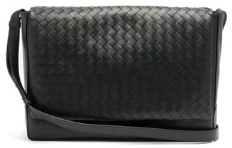 Bottega Veneta Intrecciato Leather Messenger Bag - Black