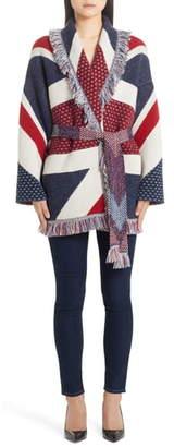 Alanui Union Jack Belted Oversize Cashmere Cardigan
