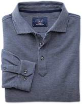 Charles Tyrwhitt Blue and White Birdseye Long Sleeve Cotton Polo Size Large
