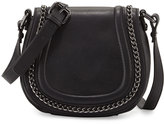 French Connection Alexa Chain-Trim Saddle Bag, Black