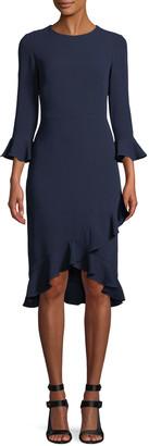 Shoshanna Karr Trumpet-Sleeve A-Line Crepe Dress