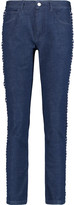 See by Chloe Mid-rise macramé lace-trimmed slim-leg jeans