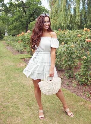 Miss Selfridge Khaki Lace Trim Bardot Mini Dress