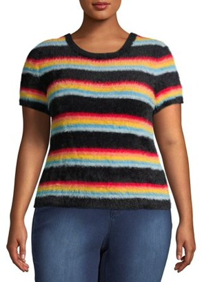 No Boundaries Juniors' Plus Size Striped Short Sleeve Eyelash Sweater
