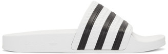 adidas White and Black Adilette Slides