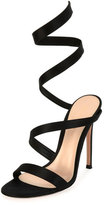 Gianvito Rossi Snake Ankle-Wrap 105mm Sandal, Black