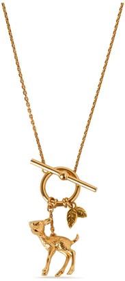 Mulberry Secret Garden Deer Necklace Gold Brass