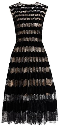 Oscar de la Renta Sleeveless Lace & Velvet Striped A-Line Dress