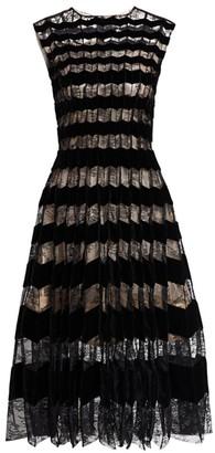 Oscar de la Renta Sleeveless Lace & Velvet Striped A-Line Dress