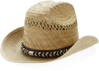 Saint Laurent Braided Belt Western Straw Hat