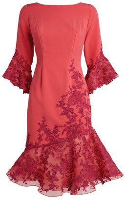 John Charles Lace Fluted Dress